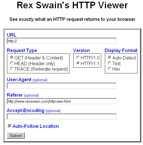Rex Swain's HTTP Viewer