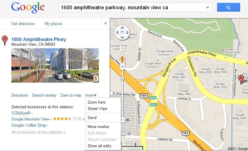 """Google Places Entry for the Business """"123kjkjad9 -"""""""