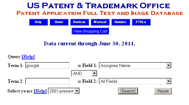 Searching on Patents Assigned to Google *click to enlarge*